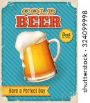 vintage style vector cold beer... | Shutterstock .eps vector #324099998