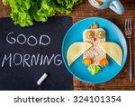 funny sandwich owl for kids on... | Shutterstock . vector #324101354