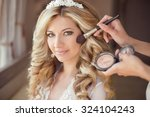 make up rouge. healthy hair.... | Shutterstock . vector #324104243