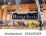 bourbon street sign in the...   Shutterstock . vector #324105329