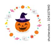halloween pumpkin with witches... | Shutterstock .eps vector #324107840