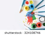 watercolors and brushes with... | Shutterstock . vector #324108746