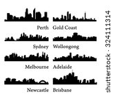 set of 8 city silhouettes in