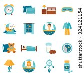 Sleep Time Flat Icons Set With...