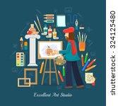 artist studio concept with flat ...   Shutterstock .eps vector #324125480