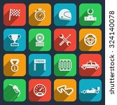 car tools and car race icons... | Shutterstock .eps vector #324140078