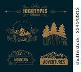 hand drawn logo set. retro... | Shutterstock .eps vector #324143813