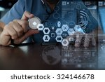 medicine doctor hand working... | Shutterstock . vector #324146678