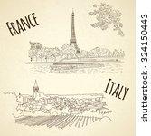 set of vector city sketching on ... | Shutterstock .eps vector #324150443