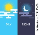 day and night vector flat... | Shutterstock .eps vector #324150680