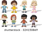 group of happy cartoon children.... | Shutterstock .eps vector #324150869