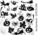 halloween set of doodle... | Shutterstock .eps vector #324151388