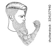 hand drawn serious hipster man... | Shutterstock .eps vector #324157940