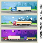 set of web banners trucks.... | Shutterstock .eps vector #324163403