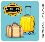 retro travel handbag and a... | Shutterstock .eps vector #324169280