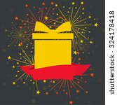 gift box with red ribbon and... | Shutterstock .eps vector #324178418