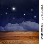 starry night  clouds. wooden... | Shutterstock . vector #324180866