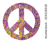 vector pacifism sign. hippie... | Shutterstock .eps vector #324218318