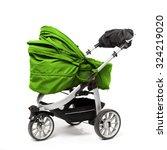 green baby stroller isolated on ... | Shutterstock . vector #324219020