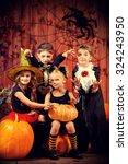 Cheerful Children In Halloween...