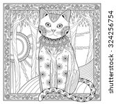 Elegant Magic Cat Coloring Pag...