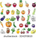 cartoon vegetables and fruits  | Shutterstock .eps vector #324293810