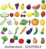 cartoon vegetables and fruits  | Shutterstock .eps vector #324293813