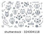 Cats Vector Set. Cats Faces...