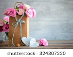 Love Background With Pink Rose...