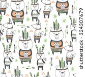 cute animals seamless pattern... | Shutterstock .eps vector #324307679