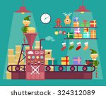elves make christmas and new... | Shutterstock .eps vector #324312089
