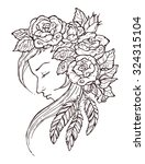 girl with roses and feathers ... | Shutterstock .eps vector #324315104