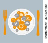 social media icons on the plate ...