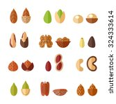 nuts and seeds vector set.... | Shutterstock .eps vector #324333614