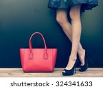 fashion leggy girl in a... | Shutterstock . vector #324341633