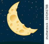 Cheese Moon. Vector Template.