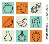 icons set of fruits and... | Shutterstock . vector #324343073