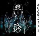 rap music girl. pretty young... | Shutterstock .eps vector #324368534
