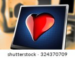 red heart on blue background at ... | Shutterstock . vector #324370709
