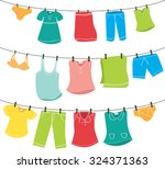 Stock vector various clothes on washing line 324371363