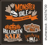 Set Of Halloween Sale Promotio...