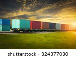 freight trains at sunset. | Shutterstock . vector #324377030