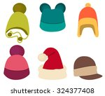 Set Winter Hat Isolated On...