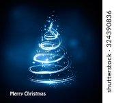 christmas tree from light... | Shutterstock . vector #324390836