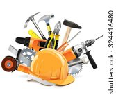 vector construction tools with... | Shutterstock .eps vector #324416480