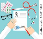 doctor writing notes on a... | Shutterstock .eps vector #324418343