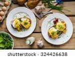 eggs benedict with little salad ...   Shutterstock . vector #324426638