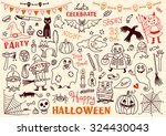 halloween drawings vector set ... | Shutterstock .eps vector #324430043