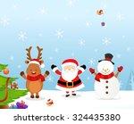 santa reindeer snowman | Shutterstock .eps vector #324435380