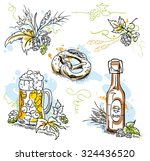 hand drawn vector beer  hops... | Shutterstock .eps vector #324436520